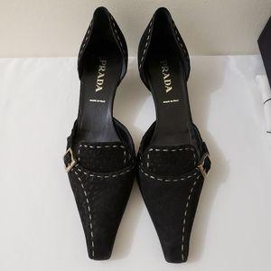 50% 0ff Prada Vintage Black Suede Mules 35.5